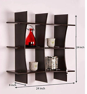 DriftingWood Decorative 3 Tier Criss-Cross Floating Wall Shelf for Living Room | Brown Finish