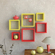 Load image into Gallery viewer, Driftingwood Nesting Square Wall Shelf for Living Room | Set of 6 | Red and Yellow