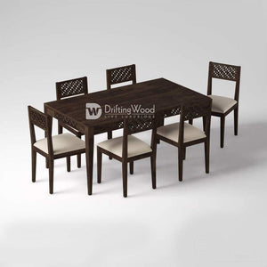 DriftingWood Sheesham Wood 6 Seater Dining Table Set for Living Room in Walnut Finish