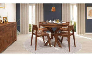 DriftingWood Wooden Liana Gordon Dining Table 4 Seater | Dinning Room Table with 4 Chairs | Sheesham Wood, Natural Brown