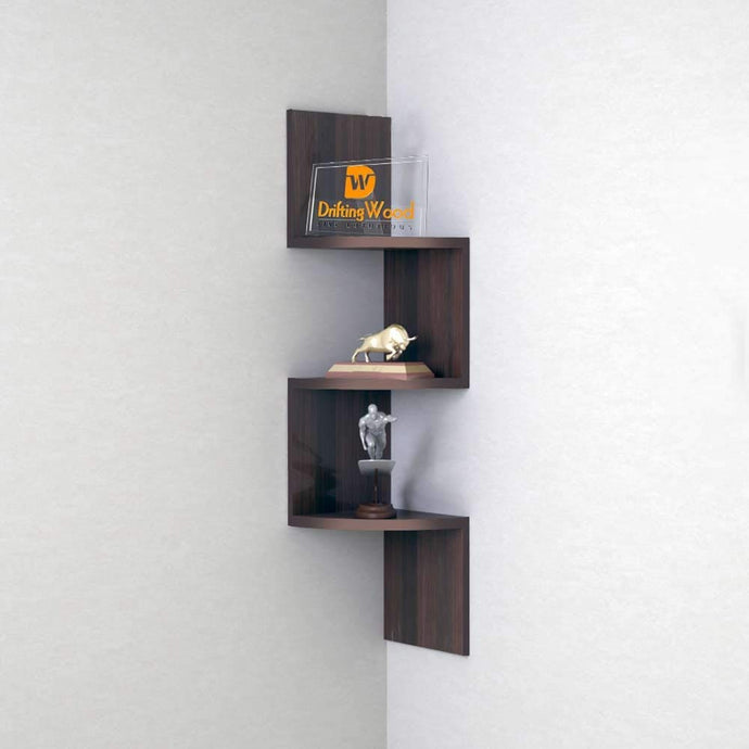 Driftingwood Zigzag Wall Mount Floating Corner Wall Shelves Rack - Rich Walnut
