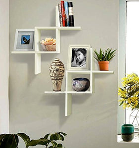 Driftingwood Intersecting Storage Wall Shelves Rack | White