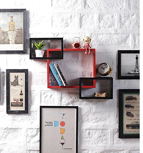 Driftingwood Wall Shelf Rack Set of 3 Intersecting Wall Shelves - Red & Black