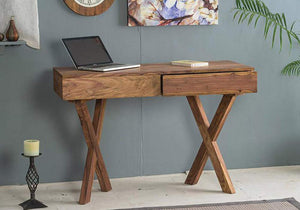 DriftingWood Sheesham Wood Cross Legs Study Table for Home and Office | with 2 Drawer | Natural Honey Finish