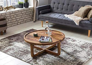DriftingWood Sheesham Wood Round Curve Coffee Table for Living Room | Center Table | Light Brown