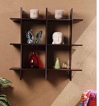 Load image into Gallery viewer, DriftingWood Decorative 3 Tier Criss-Cross Floating Wall Shelf for Living Room | Brown Finish