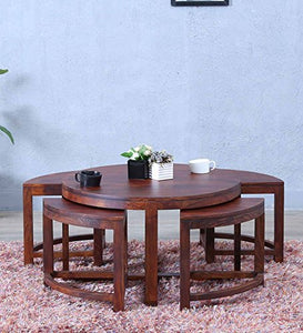 Driftingwood Solid Sheesham Wood Coffee Table For Living Room,With 4 Stools,Dark Honey Oak Finish
