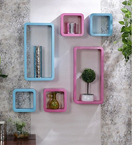 Driftingwood Wall Rack Shelves Set of 4 Cube & 2 Rectangle Shelves Storage Wall Shelf - Pink & Sky Blue