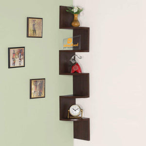 DriftingWood Laminated MDF Zigzag Corner Shelf/Wall Shelves, 7.75x7.75 Inches (Brown)
