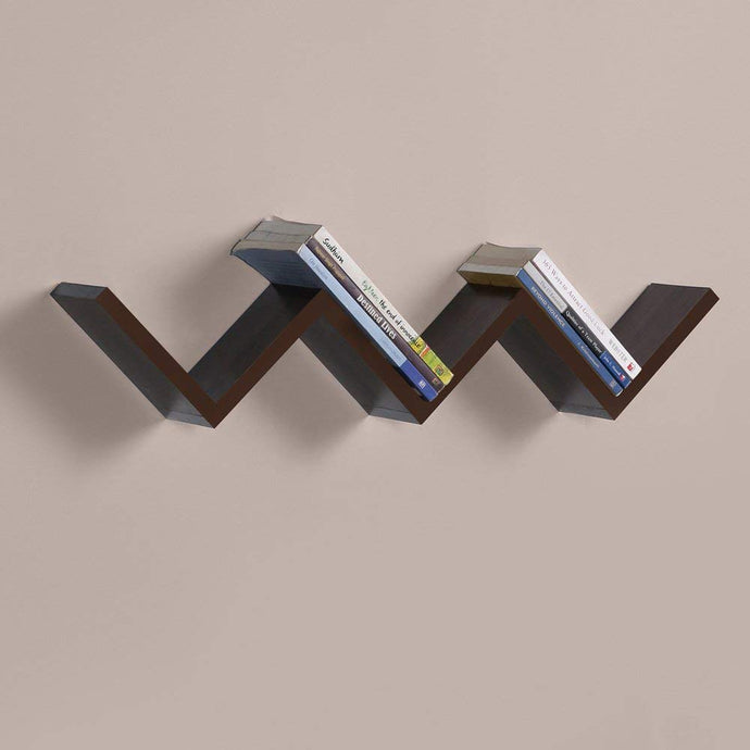 DriftingWood Laminated MDF W Shape Zigzag Wall Mount Book Shelf/Wall Shelf with Rich Walnut Finish