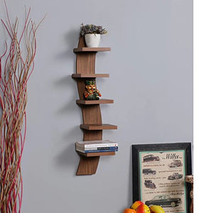 Driftingwood Wall Shelf Rack Curve Shape 5 Tier Wall Shelves - Natural Brown Laminated