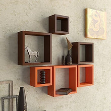Load image into Gallery viewer, Driftingwood Nesting Square Wall Shelf for Living Room | Set of 6 | Orange and Brown