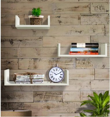 Driftingwood U Shape Floating Wall Shelf for Living Room | Set of 3 | White