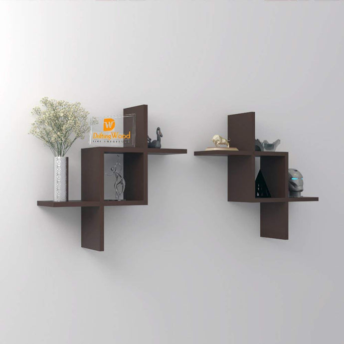 Driftingwood Intersecting Storage Wall Shelves Rack - Brown