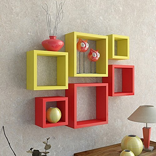 Driftingwood Nesting Square Wall Shelf for Living Room | Set of 6 | Red and Yellow