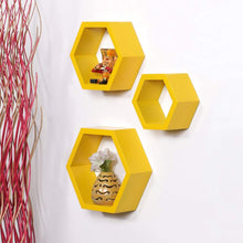 Load image into Gallery viewer, Driftingwood Wall Shelf Rack Hexagon Shape Storage Wall Shelves Set of 3 - Yellow