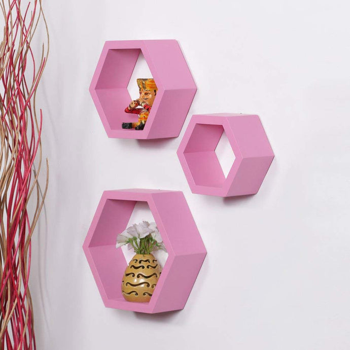Driftingwood Wall Shelf Rack Hexagon Shape Storage Wall Shelves Set of 3 - Pink