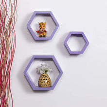 Load image into Gallery viewer, Driftingwood Wall Shelf Rack Hexagon Shape Storage Wall Shelves Set of 3 - Purple