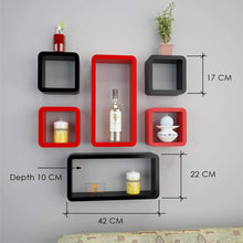 Load image into Gallery viewer, Driftingwood Wall Rack Shelves Set of 4 Cube & 2 Rectangle Shelves Storage Wall Shelf - Red & Black
