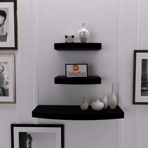 DriftingWood Wooden Wall Shelf Rack Round Floating Wall Shelves For Living Room | Set of 3 | White