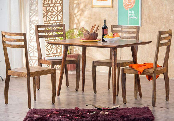 DriftingWood Sheesham Wood Dining Table Set with 4 Chairs for Living Room | Brown