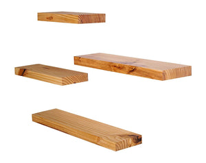 DriftingWood Floating Wall Shelf for Living Room | Set of 4 Wall Shelves | Pine Wood, Natural Brown