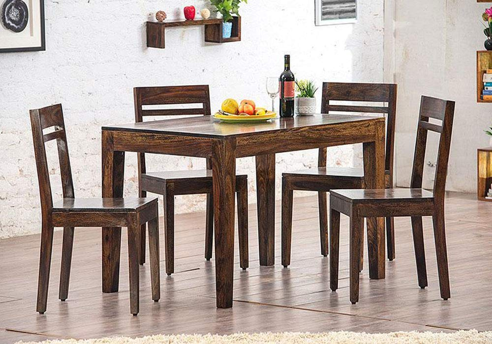 Outstanding Driftingwood Sheesham Wood Dining Table Set With 4 Chairs For Living Room Walnut Brown Download Free Architecture Designs Viewormadebymaigaardcom