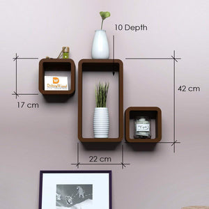 Driftingwood Wall Shelf Set of 2 Cube & 1 Rectangle Wall Rack Shelves - Brown