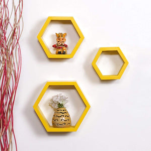 Driftingwood Wall Shelf Rack Hexagon Shape Storage Wall Shelves Set of 3 - Yellow