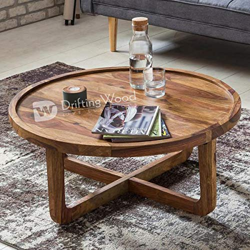 Driftingwood Sheesham Wood Round Curve Coffee Table For Living Room Center Table Light Brown