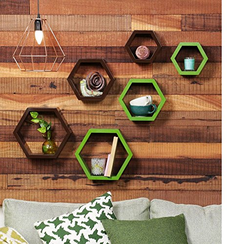 Driftingwood Wooden Hexagon Wall Shelf for Living Room | Set of 6 Wall Shelves | Brown and Green