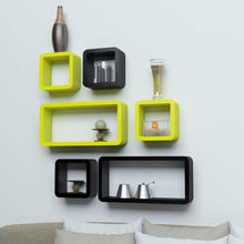 Load image into Gallery viewer, Driftingwood Wall Rack Shelves Set of 4 Cube & 2 Rectangle Shelves Storage Wall Shelf - Yellow & Black