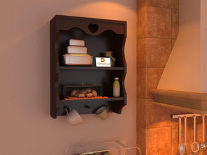DriftingWoodWooden Bathroom Wall-shelf Mounted 2 Tier Wall-rack Shelves for Kitchen