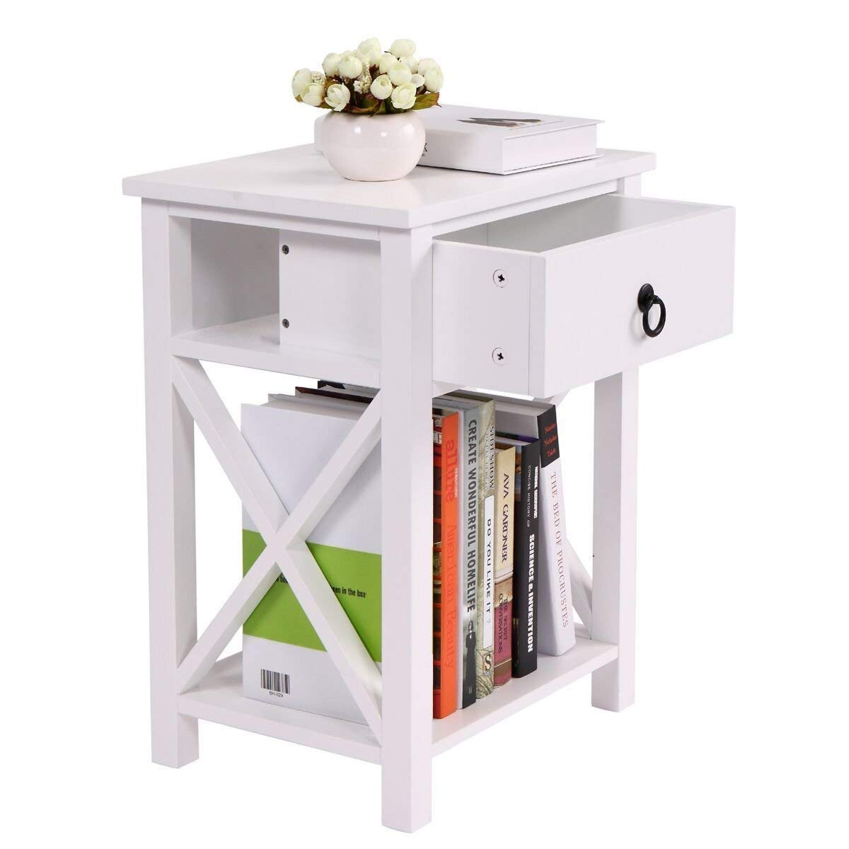Driftingwood sheesham wood bed side table for living room bedside table for bedroom 1 drawer with shelve side table white