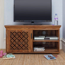Load image into Gallery viewer, DriftingWood Sheesham Wood Wooden TV Cabinet Furniture Stand | TV Unit in Living Room | Honey Finish
