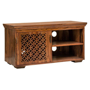 DriftingWood Sheesham Wood Wooden TV Cabinet Furniture Stand | TV Unit in Living Room | Honey Finish