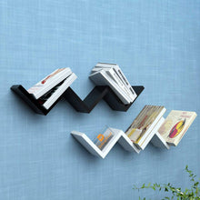 Load image into Gallery viewer, Driftingwood Set of 2 W Shape Wall Mount Zigzag Wall Shelf - Black & White
