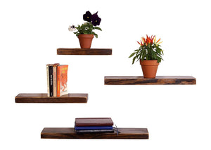 DriftingWood Floating Wall Shelf for Living Room | Set of 4 Wall Shelves | Pine Wood, Dark Brown