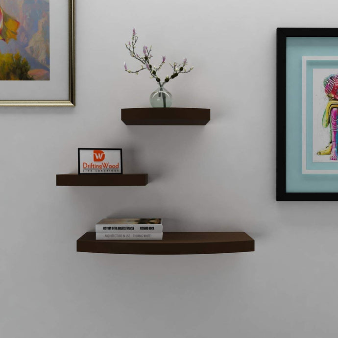 DriftingWood Wooden Wall Shelf Rack Round Floating Wall Shelves for Living Room | Set of 3