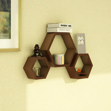 Load image into Gallery viewer, Driftingwood Hexagon Shape Storage Wall Shelves Set Of 3 - Brown