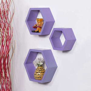 Driftingwood Wall Shelf Rack Hexagon Shape Storage Wall Shelves Set of 3 - Purple