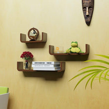 Load image into Gallery viewer, Driftingwood U Shape Floating Wall Rack Shelves Set of 3 - Brown