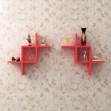 Load image into Gallery viewer, Driftingwood Intersecting Storage Wall Shelves Rack - Red