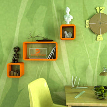 Load image into Gallery viewer, Driftingwood Wall Shelf Set Of 2 Cube & 1 Rectangle Wall Rack Shelves - Orange