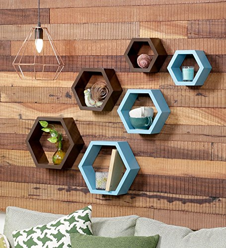 Driftingwood Wooden Hexagon Wall Shelf for Living Room | Set of 6 Wall Shelves | Brown and Sky Blue