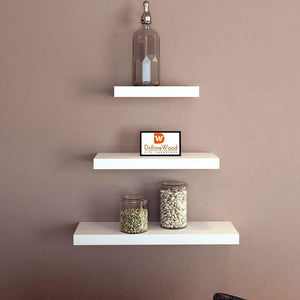 Driftingwood Wall Shelves Floating Wall Racks Set of 3 Shelves | White