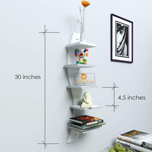 Driftingwood Wall Shelf Rack Curve Shape 5 Tier Wall Shelves - White Laminated