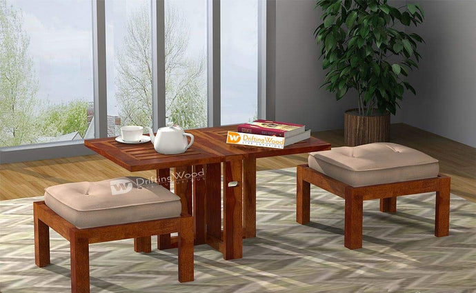 DriftingWood Sheesham Wood Astin Folding Center Coffee Table for Living Room | Dining Table | Teak Finish