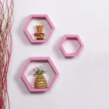 Load image into Gallery viewer, Driftingwood Wall Shelf Rack Hexagon Shape Storage Wall Shelves Set of 3 - Pink