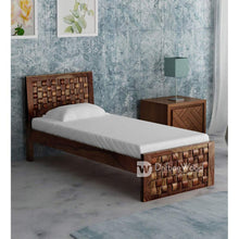 Load image into Gallery viewer, DriftingWood Wooden Single Size Bed for Bed Room | Solid Wood Bed | Sheesham Wood, Light Walnut